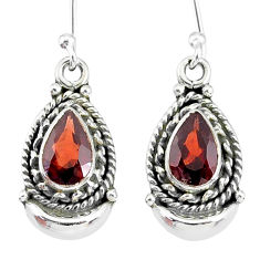4.14cts natural red garnet 925 sterling silver dangle moon earrings r89271