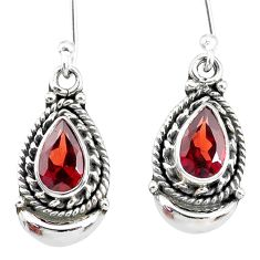 4.42cts natural red garnet 925 sterling silver dangle moon earrings r89294