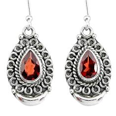 4.35cts natural red garnet 925 sterling silver dangle moon earrings r89325