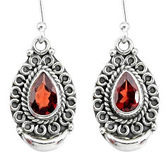 4.34cts natural red garnet 925 sterling silver dangle moon earrings r89326