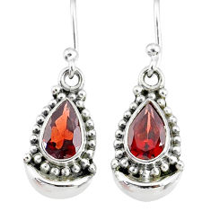 4.06cts natural red garnet 925 sterling silver dangle moon earrings r89347