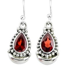 4.41cts natural red garnet 925 sterling silver dangle moon earrings r89371