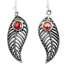 1.77cts natural red garnet 925 sterling silver deltoid leaf earrings d40141
