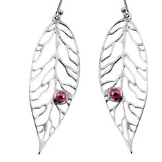 1.12cts natural red garnet 925 sterling silver deltoid leaf earrings r73033