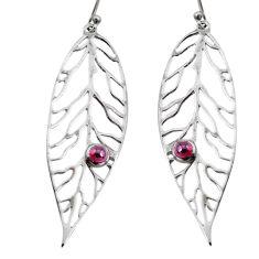 1.12cts natural red garnet 925 sterling silver deltoid leaf earrings r73033