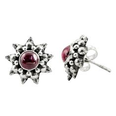 1.74cts natural red garnet 925 sterling silver stud earrings jewelry r22789