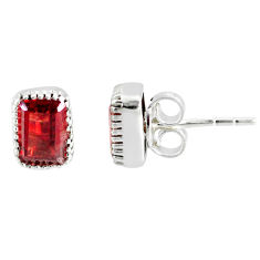 3.45cts natural red garnet 925 sterling silver stud earrings jewelry r77093