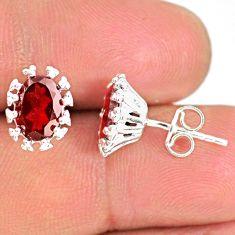 4.21cts natural red garnet 925 sterling silver handmade stud earrings r82871