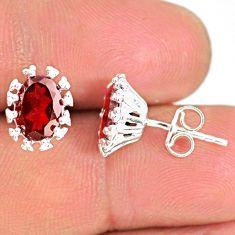 4.30cts natural red garnet 925 sterling silver handmade stud earrings r82872