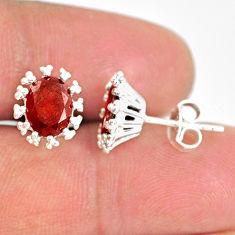 3.97cts natural red garnet 925 sterling silver handmade stud earrings r82898