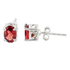 3.13cts natural red garnet 925 sterling silver stud earrings jewelry r87452