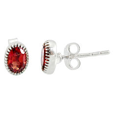 2.45cts natural red garnet 925 sterling silver stud earrings jewelry r87552