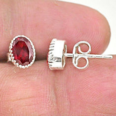 3.16cts natural red garnet 925 sterling silver stud earrings jewelry t4460
