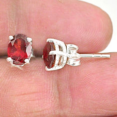 4.00cts natural red garnet 925 sterling silver stud earrings jewelry t4469