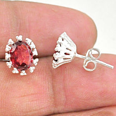 4.23cts natural red garnet 925 sterling silver stud earrings jewelry t4506