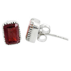 3.04cts natural red garnet 925 silver handmade stud earrings jewelry t7370