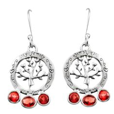 5.47cts natural red garnet 925 sterling silver tree of life earrings d46914