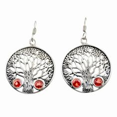 2.34cts natural red garnet 925 sterling silver tree of life earrings d47108