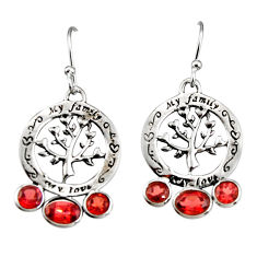 6.27cts natural red garnet 925 sterling silver tree of life earrings r33060
