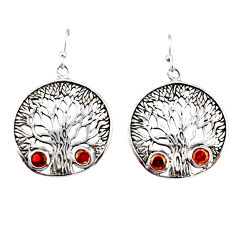 2.66cts natural red garnet 925 sterling silver tree of life earrings r33078