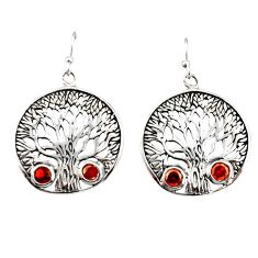 2.01cts natural red garnet 925 sterling silver tree of life earrings r38741