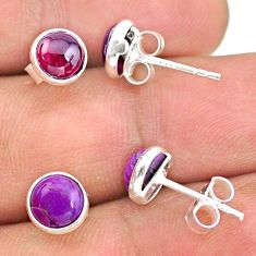 4.05cts natural red garnet copper turquoise 925 silver stud earrings t23882