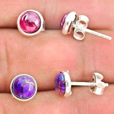 4.10cts natural red garnet copper turquoise 925 silver stud earrings t23924