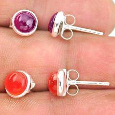 4.43cts natural red garnet cornelian (carnelian) 925 silver stud earrings t23905