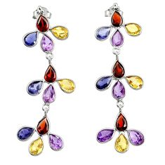 11.96cts natural red garnet iolite citrine 925 sterling silver earrings r33187