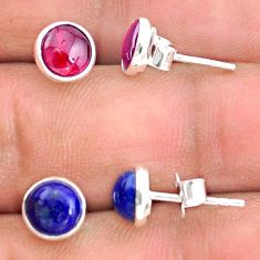 4.46cts natural red garnet lapis lazuli 925 sterling silver stud earrings t23902