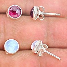 4.46cts natural red garnet moonstone 925 sterling silver stud earrings t23937