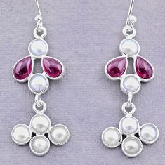7.15cts natural red garnet pearl 925 sterling silver dangle earrings t12455