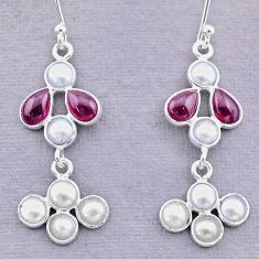 7.65cts natural red garnet pearl 925 sterling silver dangle earrings t12458