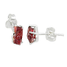 4.91cts natural red garnet rough 925 sterling silver earrings jewelry t7489
