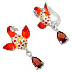 Natural red garnet topaz enamel 925 sterling silver birds charm earrings c16942