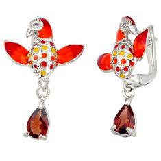 Natural red garnet topaz enamel 925 sterling silver earrings jewelry c16947