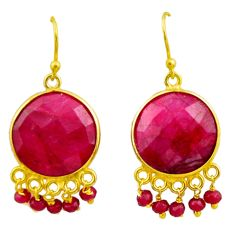 23.27cts natural red ruby 925 silver 14k gold chandelier earrings r32575