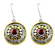 1.94cts natural red ruby 925 sterling silver 14k gold dangle earrings d45815