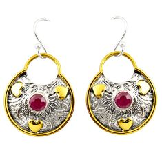 1.68cts natural red ruby 925 sterling silver 14k gold dangle earrings d47522