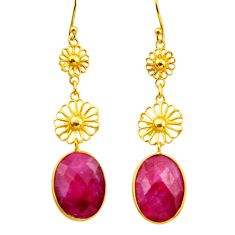 12.43cts natural red ruby 925 sterling silver 14k gold dangle earrings r32516