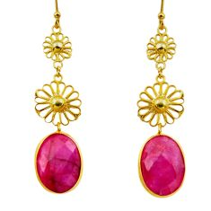 12.96cts natural red ruby 925 sterling silver 14k gold dangle earrings r32517