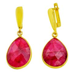 19.98cts natural red ruby 925 sterling silver 14k gold dangle earrings r32533