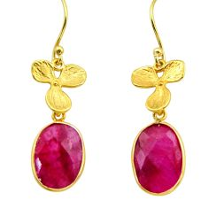 11.05cts natural red ruby 925 sterling silver 14k gold dangle earrings r32613