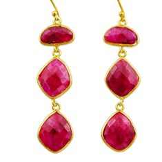 25.19cts natural red ruby 925 sterling silver 14k gold dangle earrings r32642