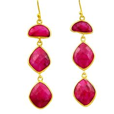 25.83cts natural red ruby 925 sterling silver 14k gold dangle earrings r32646