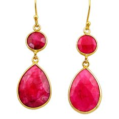21.44cts natural red ruby 925 sterling silver 14k gold dangle earrings r32689