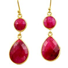 19.73cts natural red ruby 925 sterling silver 14k gold dangle earrings r32690