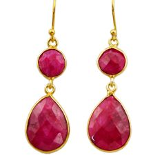 18.57cts natural red ruby 925 sterling silver 14k gold dangle earrings r32691