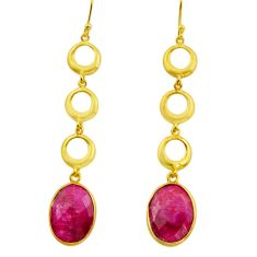 19.45cts natural red ruby 925 sterling silver 14k gold dangle earrings r32727
