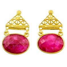 19.79cts natural red ruby 925 sterling silver 14k gold dangle earrings r32747